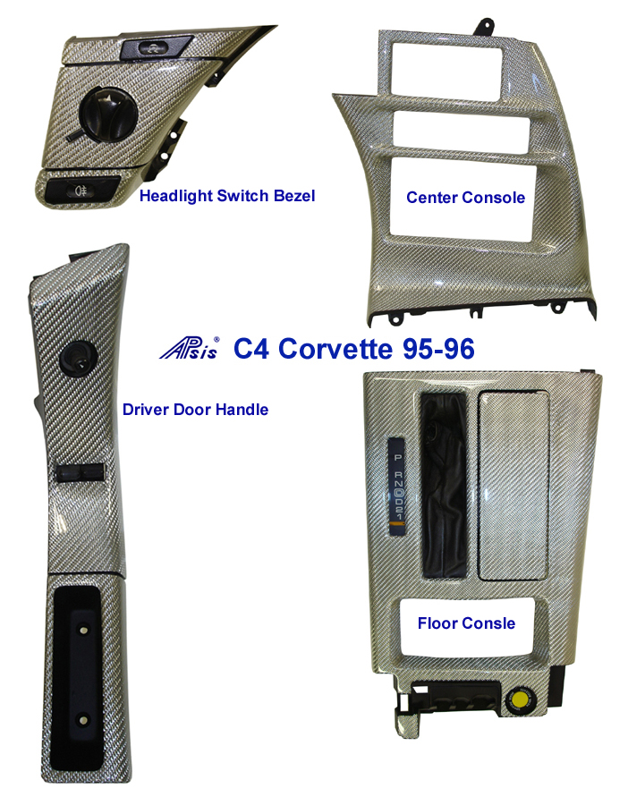 C4 Corvette-Silver CF-DF Power Switch Bezel & Door Handle- Headlight - center console - floor console 700