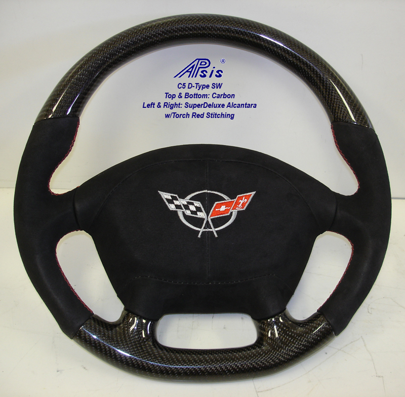 C5 D-Type SW-CF+Alcan w-red stitching w-alcan airbag cover w-split logo-1