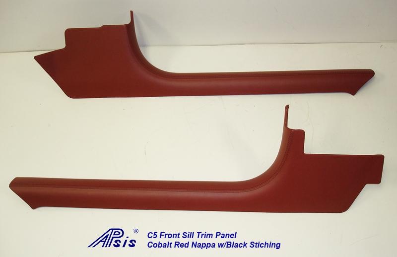 C5 Front Sill Trim-Cobalt Red Nappa w-black stitching-pairl-1