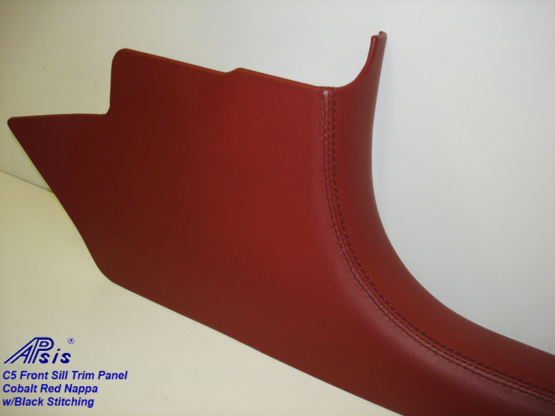 C5 Front Sill Trim-Cobalt Red Nappa w-black stitching-pass-individual-2