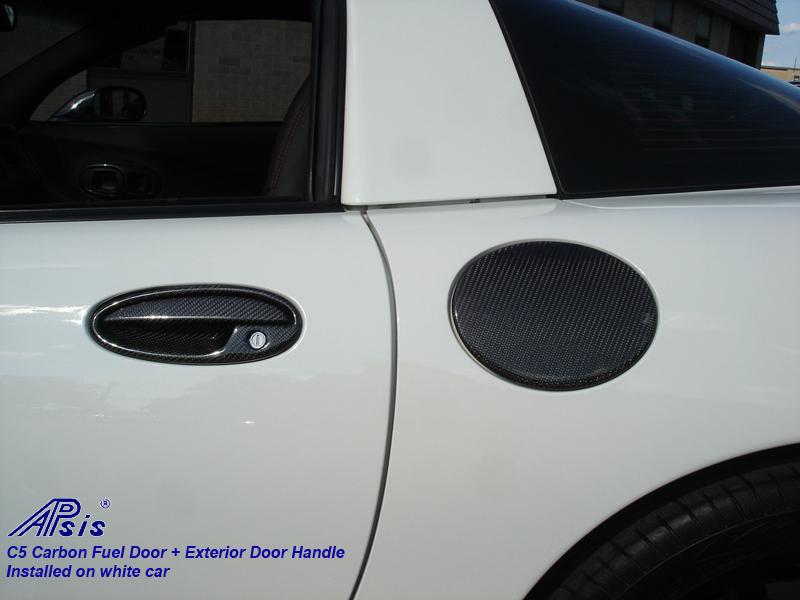 C5 Fuel Door+Door Handle-CF-installed on white car-1