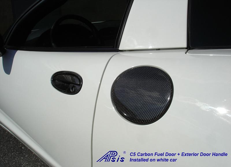 C5 Fuel Door+Door Handle-CF-installed on white car-2