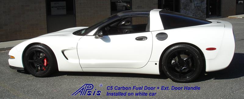 C5 Fuel Door+Door Handle-CF-installed on white car-6 full view