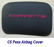 C5 Pass Airbag Cover-ebony w-cobalt red lettering-1-215