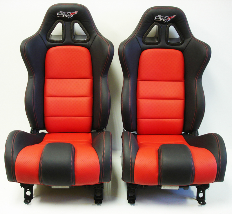 C5 SuperDeluxe Seat w-CF ebony+perf torch red w-50th anniversary logo-pair-2-no flash