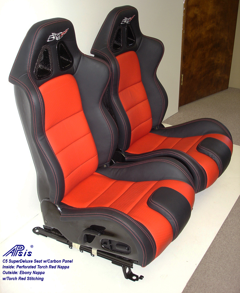 C5 SuperDeluxe Seat w-carbon ebony+perf torch red w-50th anniversary logo-pair-3