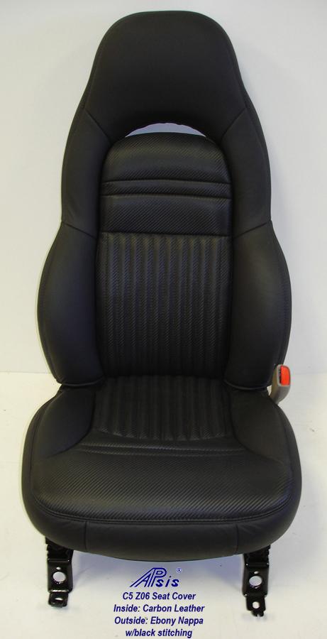 C5 Z06 Seat Cover w-half carbon leather half nappa w-blk stitching-1