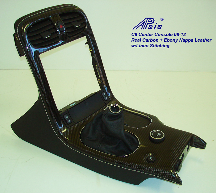 C6 08-UP Center Console-ebony w-linen stitching w-carbon-individual-1