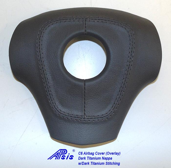 C6 Airbag Cover Overlay-dark titanium nappa w-dark titanium stitching-1