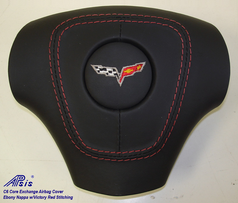 C6 Airbag Cover-core exchange-EB w-red stitching-2a