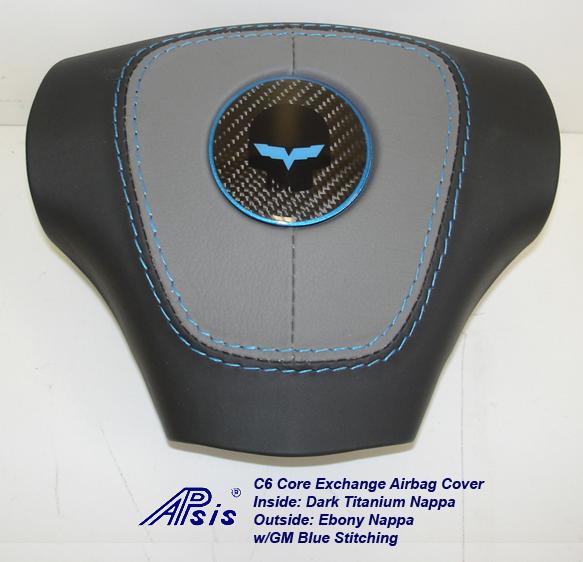C6 Airbag Cover-dark titanium+ebony w-gm blue stitching w-blue jake-1