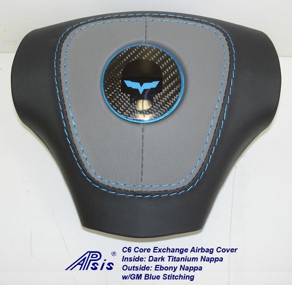 C6 Airbag Cover-dark titanium+ebony w-gm blue stitching w-blue jake-2