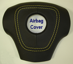 C6 Airbag Cover-ebony w-yellow stitching -250