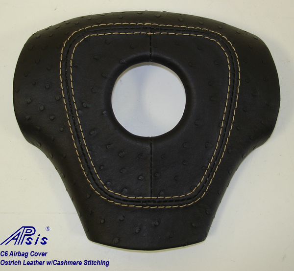 C6 Airbag Cover-ostrich leather w-cashmere stitching-1