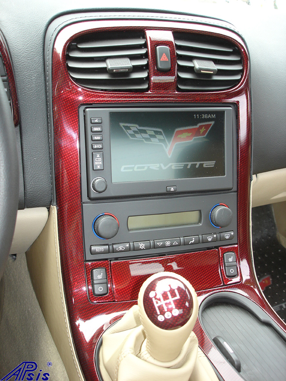 C6 C5R CF whole interior-installed-show center console upper section-1