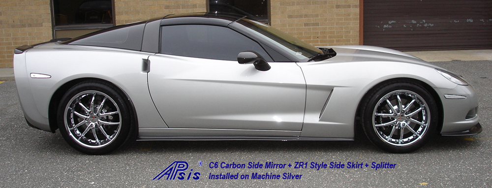 C6 CF Side Skirt+Side Mirror-installed on ms-3-full view