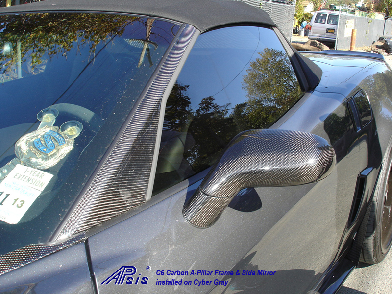 C6 Carbon A-Pillar Frame + Side Mirror installed on CG-1