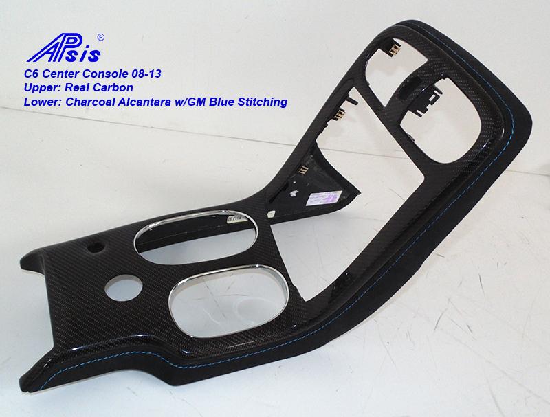 C6 Center Console 08-13-CF+charcoal alcantara w-gm blue stitching-3