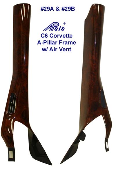 C6 Corvette A-Pillar Frame w- Air Vent -Burlwood 400