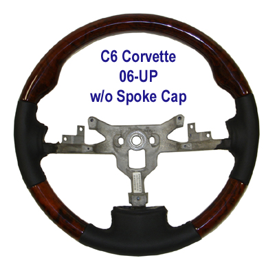 C6 Corvette SW-Burlwood - 3 spoke w-o spoke cap 06-UP - 400p
