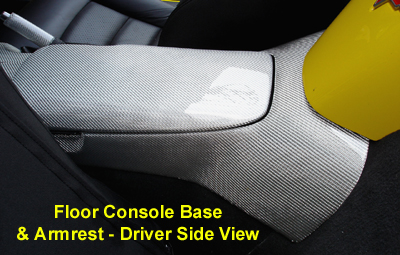 C6 Corvette Silver CF-Floor Console Base-driver view-400