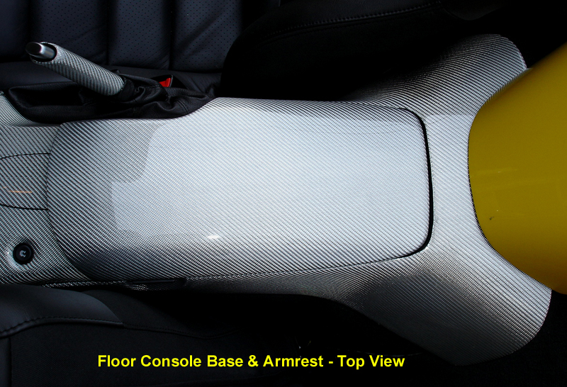C6 Corvette Silver CF-Floor Console Base-top view-800