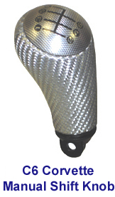 C6 Corvette Silver CF Manual Shift Knob - 150