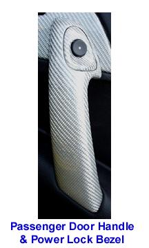 C6 Corvette Silver CF-Pass Door Handle w-Push Button Bezel-300