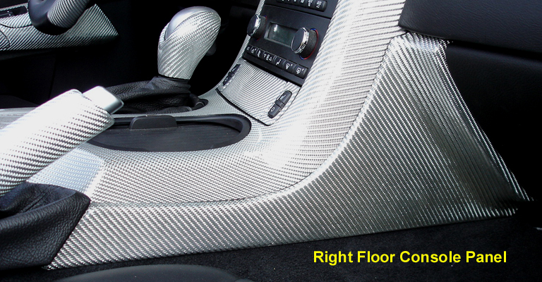 C6 Corvette Silver CF-Right Floor Console Panel-768