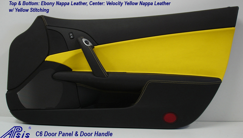 C6 Door Panel - Ebony on Top VY in the Center w-Yellow Stitching