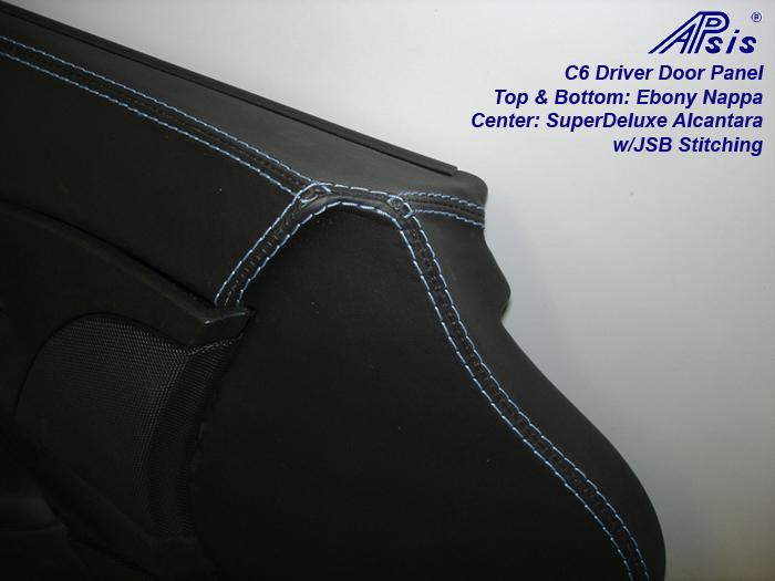 C6 Door Panel-ebony + alcantara w-jsb stitching-close shot-driver-1