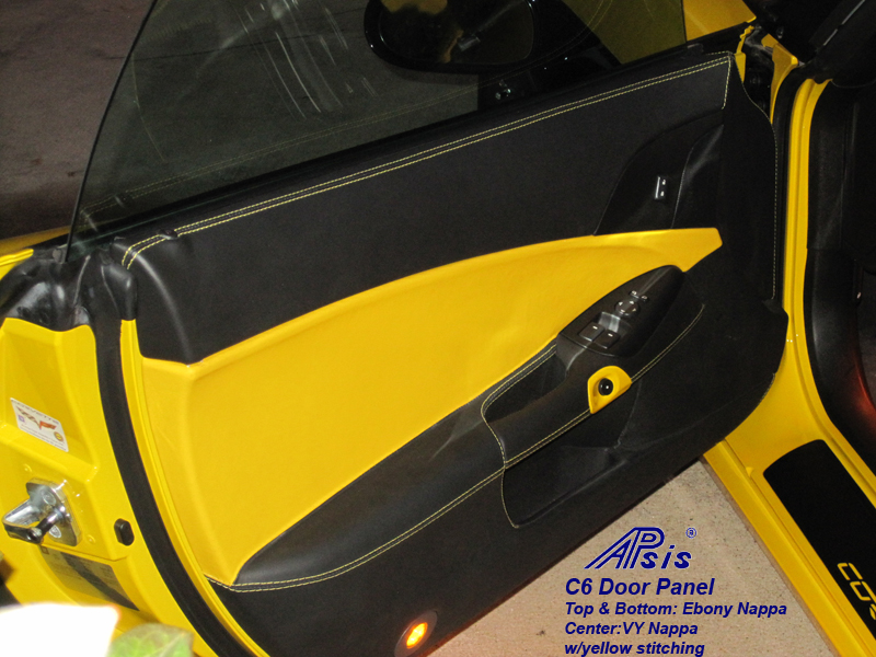 C6 Door Panel-ebony + vy w-yellow stitching-driver-installed-1