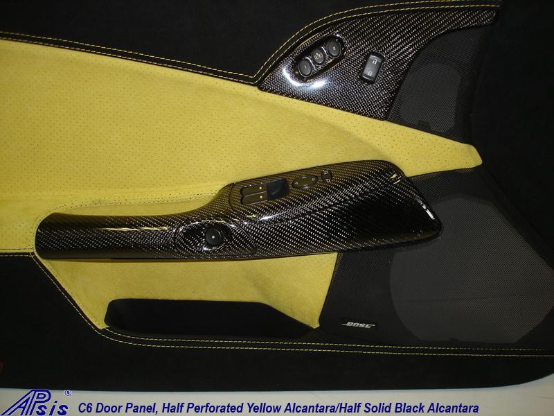 C6 Door Panel-perf yellow alcan + solid black alcan w-yellow stitching-close shot-1