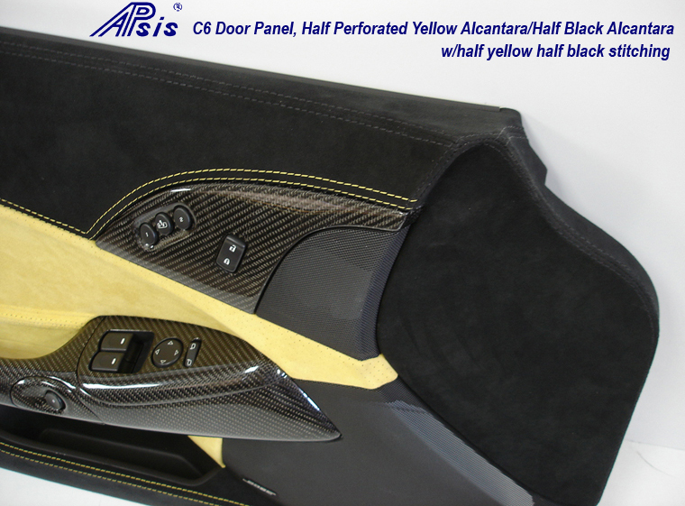 C6 Door Panel-perf yellow alcan + solid black alcan w-yellow stitching-close shot-2
