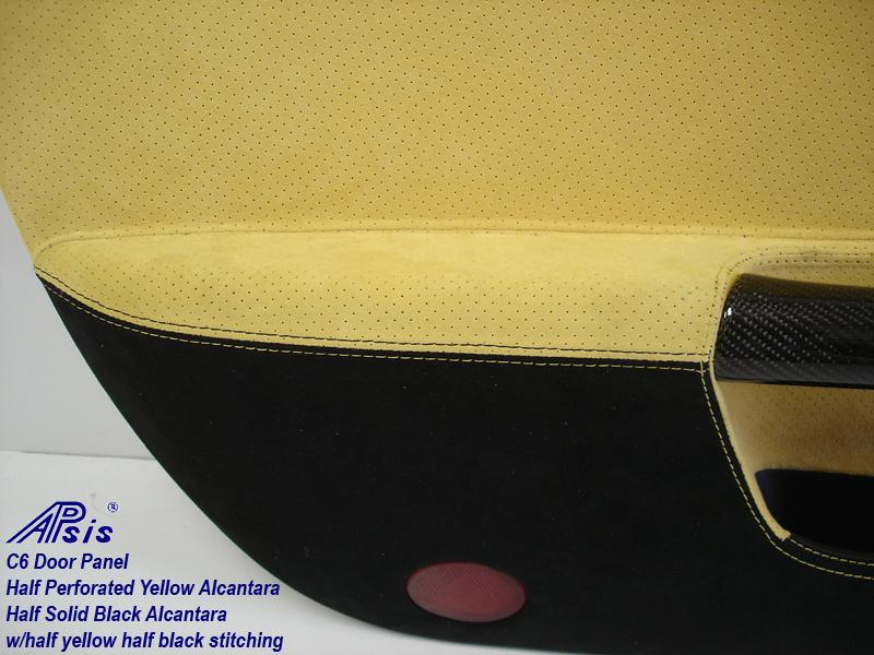 C6 Door Panel-perf yellow alcan + solid black alcan w-yellow stitching-close shot-4