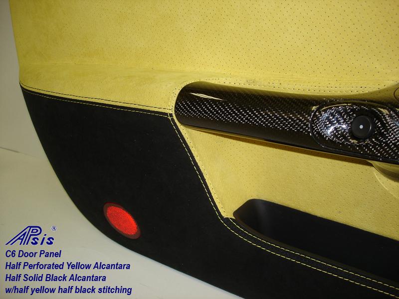 C6 Door Panel-perf yellow alcan + solid black alcan w-yellow stitching-close shot-5