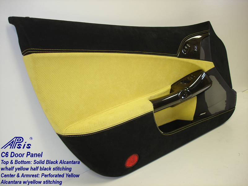 C6 Door Panel-perf yellow alcan + solid black alcan w-yellow stitching-full-2-rear view