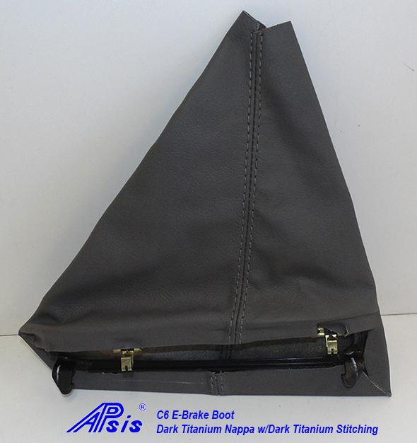 C6 E-Brake Boot-dk titanium w-dk titanium stitching-1