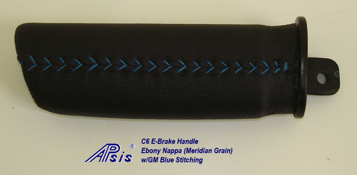 C6 E-Brake Handle-Ebony meridian w-gm blue stitching-2