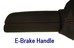 C6 E-Brake Handle in Nappa w- red stitching 250