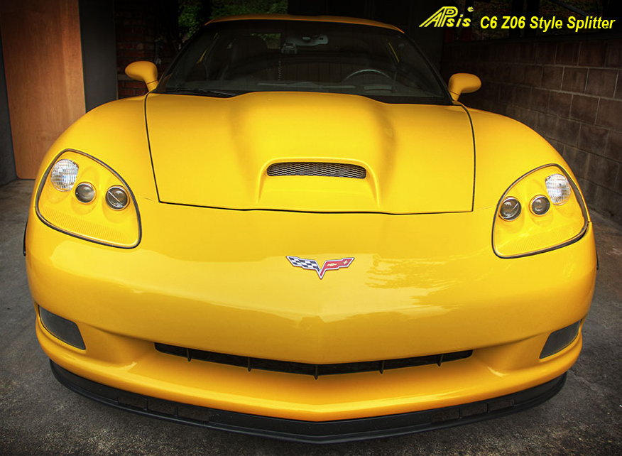 C6 Front Splitter -Z06 Style Side Front View 05-UP - 800 - on Yellow C6 -2