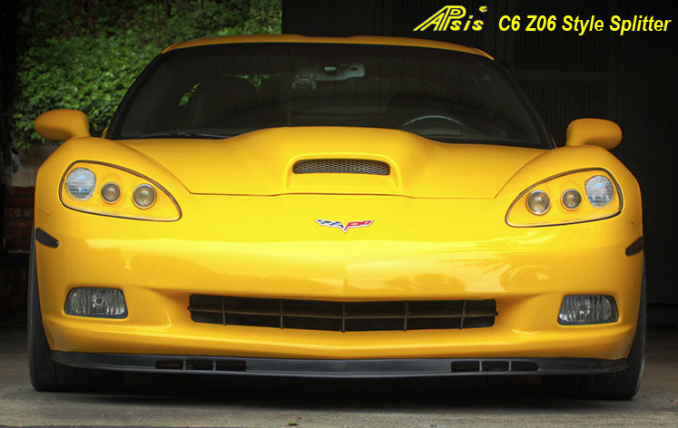 C6 Front Splitter -Z06 Style Side Front View 05-UP - 800 - on Yellow C6
