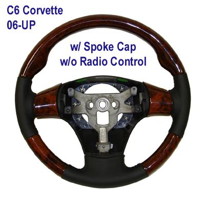 C6 SW 3 spoke w-spoke cap-burlwood - 400P