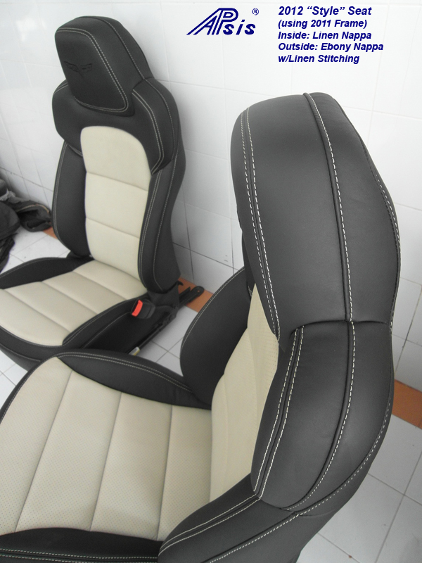 C6 Seat Cover 2012-ebony+linen-pair-side view-1