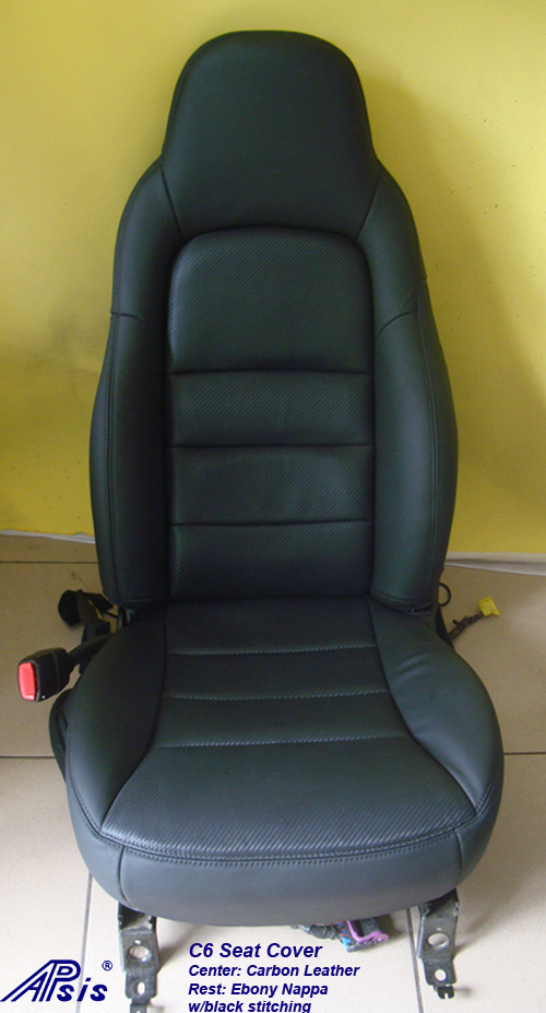 C6 Seat Cover w-carbon leather w-black stitching-2