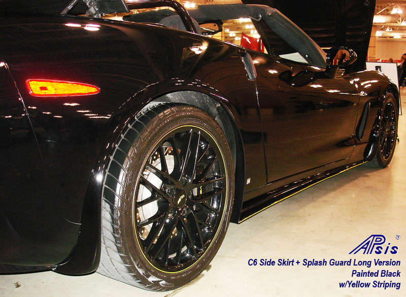 C6 Side Skirt + Splash Guard-painted black w-yellow stripe-1