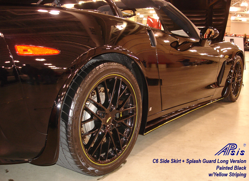 C6 Side Skirt + Splash Guard-painted black w-yellow stripe-2
