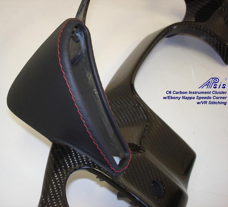 C6 Speedo Corner-EB w-vr stitching-wrap on CF instrument cluster-left-2a