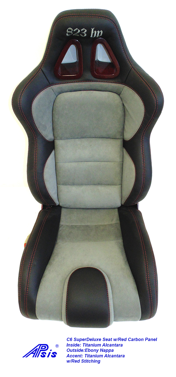 C6 SuperDeluxe Seat-ebony+light titanium w-red carbon panel-single-2