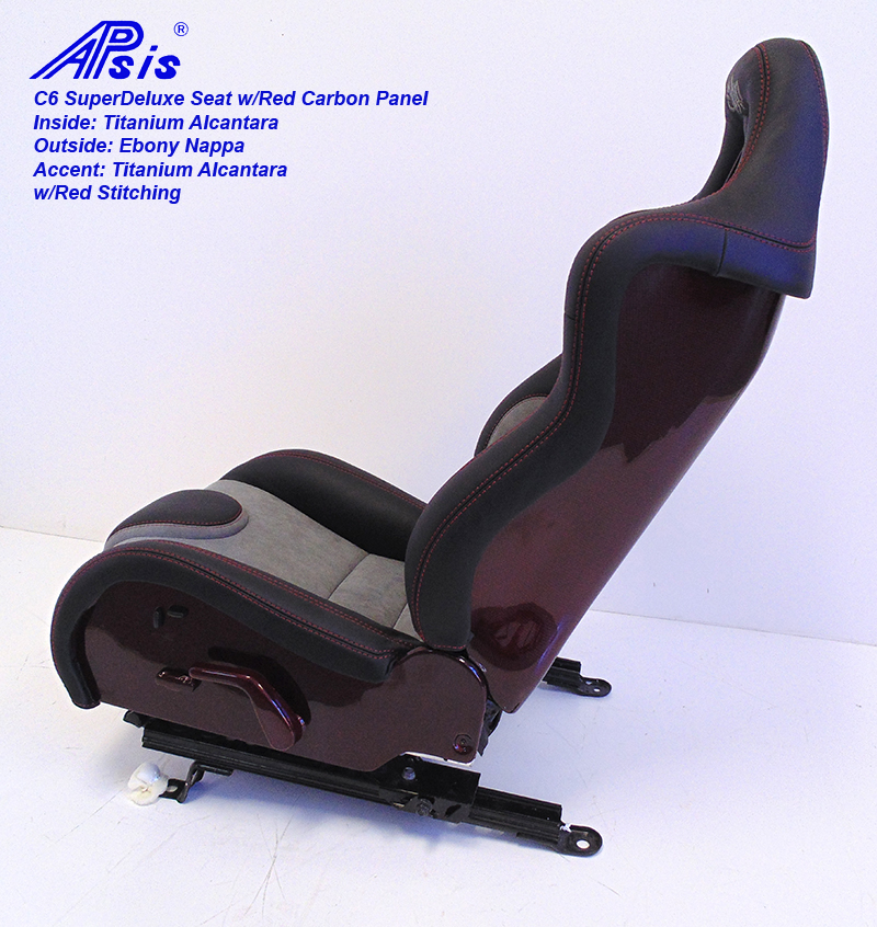 C6 SuperDeluxe Seat-ebony+light titanium w-red carbon panel-single-3